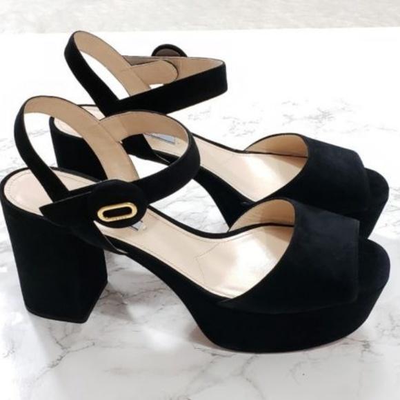 7eb7e74d9892e Prada Black Suede Platform Chunky Heel Sandals